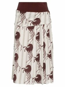 Chloé horse print side pleat midi skirt - White