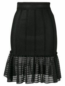 Alexander McQueen sheer panel skirt - Black