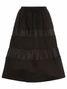 Marni Tonal stripe cotton and linen skirt - Black