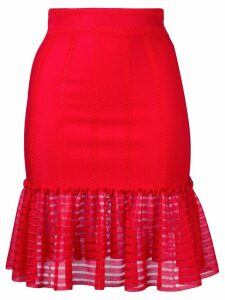 Alexander McQueen sheer panel skirt - Red