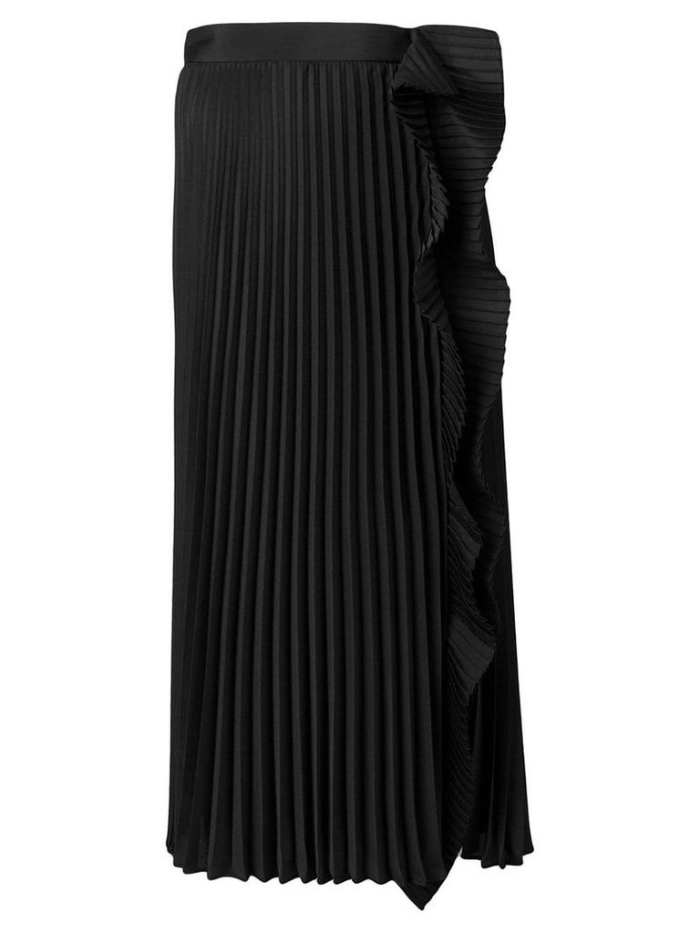 Miu Miu pleated midi skirt with ruffle detail - Black