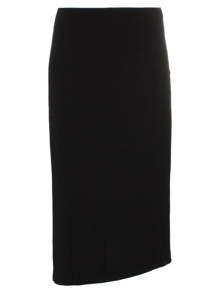 Poiret asymmetric hem midi pencil skirt - Black