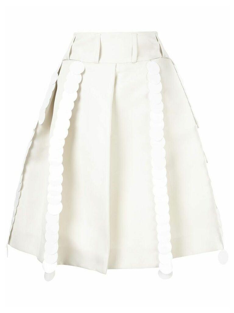 Marni pleated A-line skirt - White