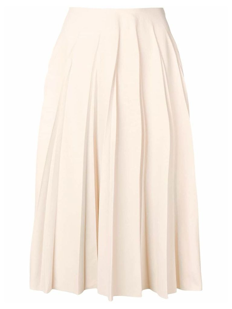 Salvatore Ferragamo pleated midi skirt - Neutrals