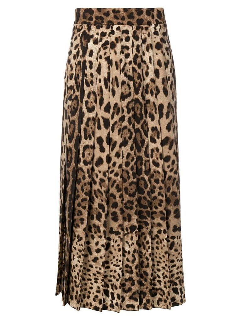 Dolce & Gabbana leopard print pleated maxi skirt - Brown