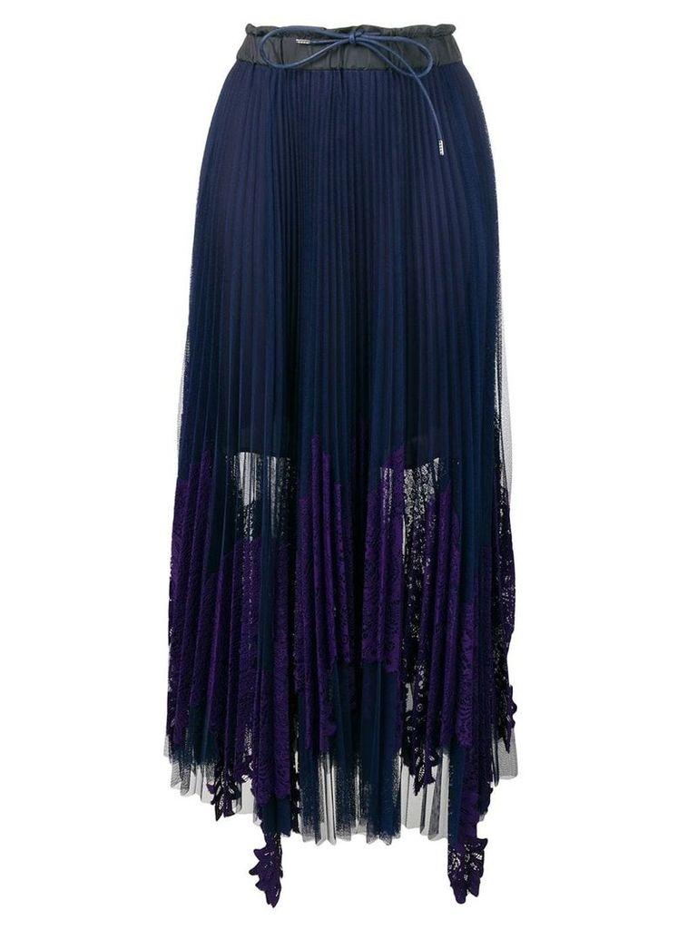 Sacai Pleated Lace Skirt - Blue