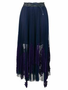 Sacai Pleated Lace Skirt - Blue