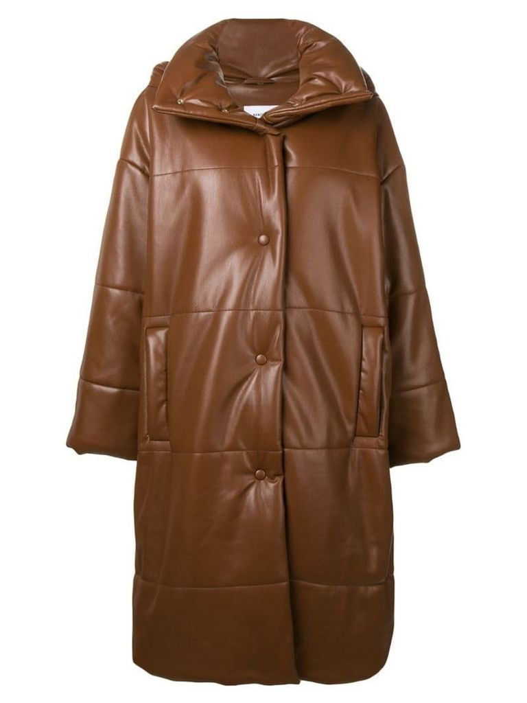 Nanushka long hooded jacket - Brown