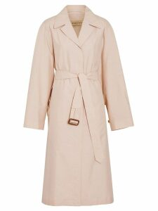 Burberry Belted Check Cotton Silk Car Coat - Pink