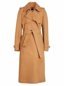 Burberry Lambskin Wrap Trench Coat - Brown