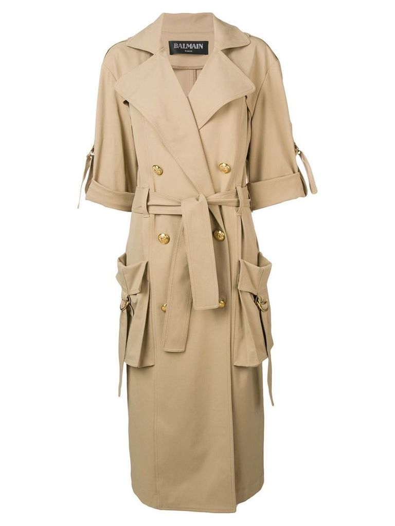 Balmain double breasted trench coat - Brown