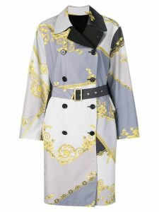 Versace Collection Baroque print reversible trench coat - Grey