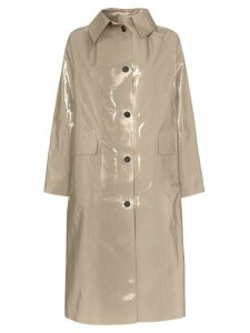 Kassl Editions patent buttoned cotton blend coat - Grey