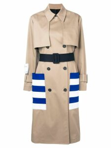 MSGM striped pocket trench coat - Brown