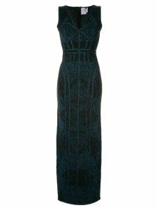 Hervé Léger shimmer long dress - Black