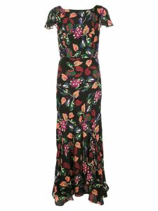Saloni paisley print dress - Black