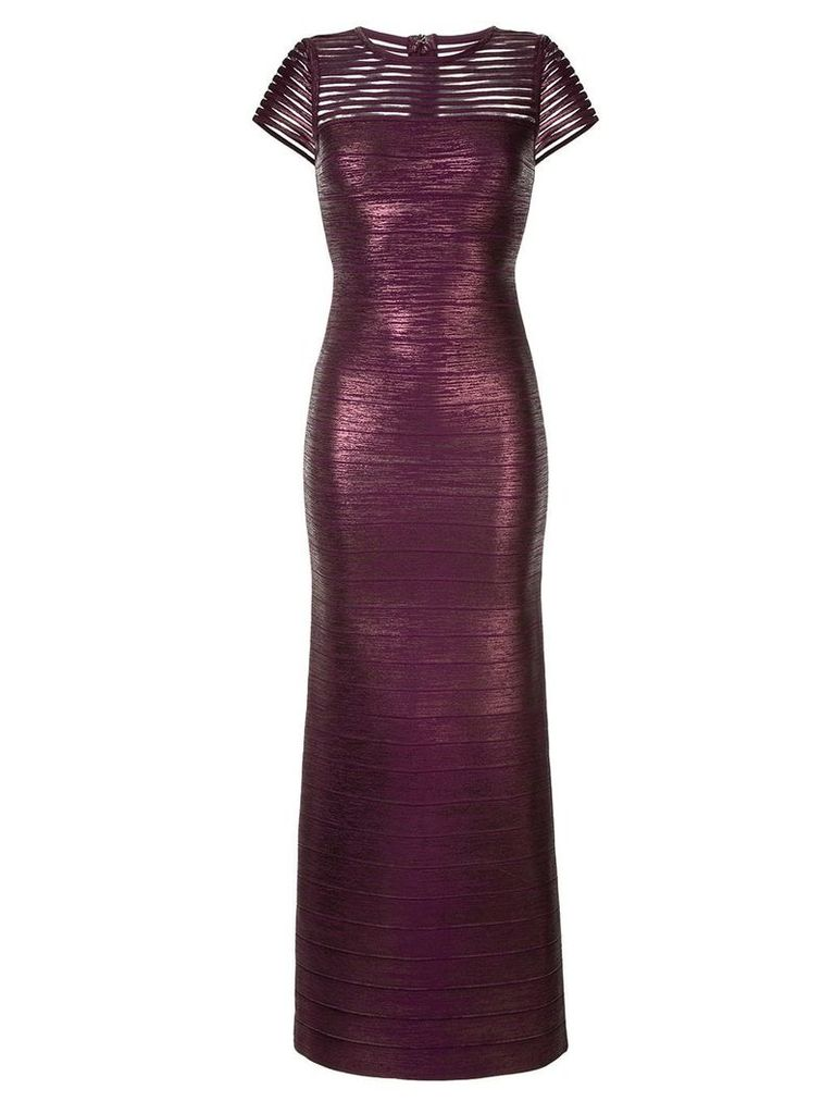 Hervé Léger shimmer fitted gown - Purple