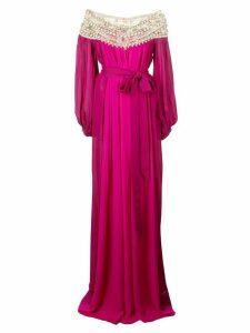 Marchesa embellished neckline dress - Pink