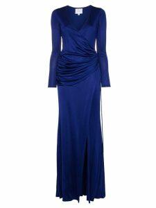 Galvan Allegra ruched side high split maxi dress - Blue