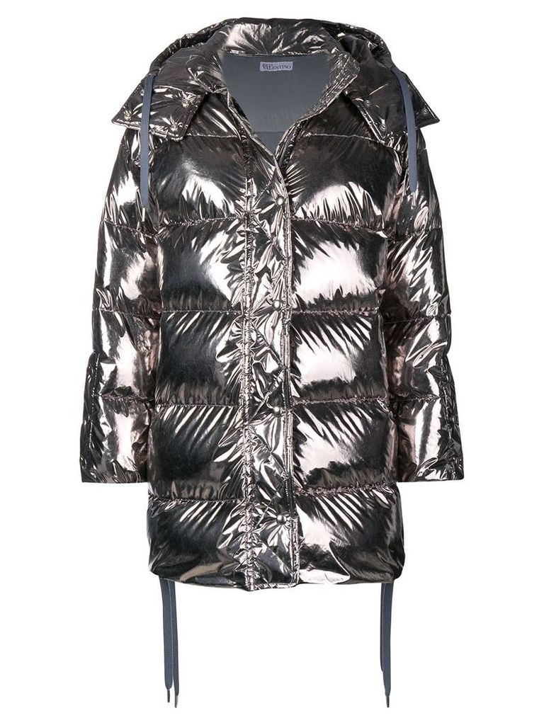 Red Valentino RED Valentino shiny puffer jacket - Silver