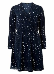 Womens **Navy And White Star Print Dress- Multi Colour, Multi Colour