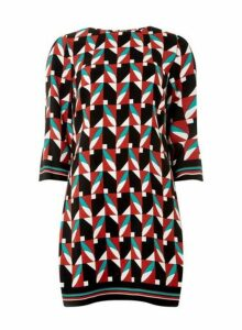 Womens Multi Coloured Geometric Print 3/4 Sleeve Shift Dress- Black, Black