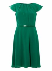 Womens **Billie & Blossom Tall Green Belted Dress- Green, Green