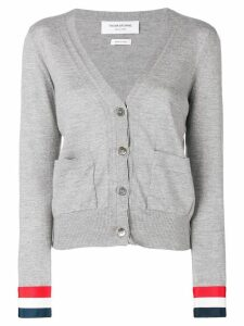 Thom Browne Grosgrain Cuff Wool Cardigan - Grey