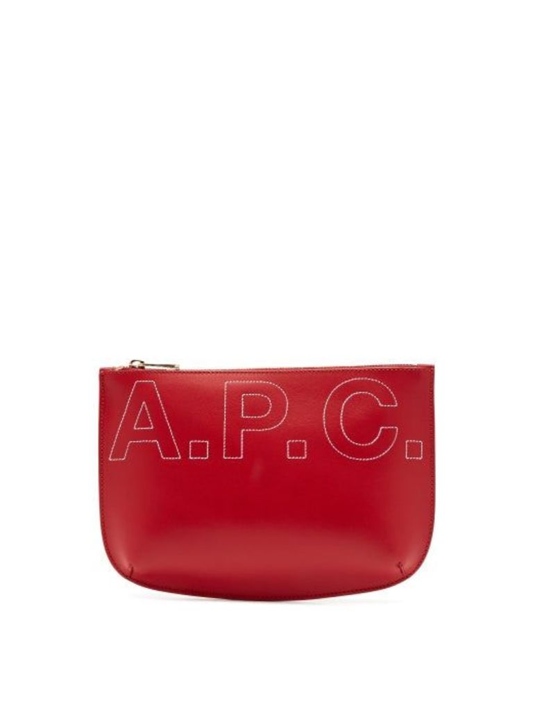 A.p.c. - Sarah Logo Embroidered Make Up Bag - Womens - Red