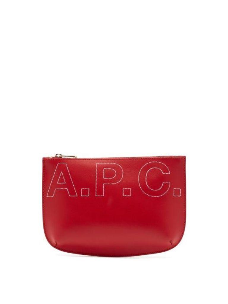A.p.c. - Sarah Logo Embroidered Make Up Bag - Womens - Red