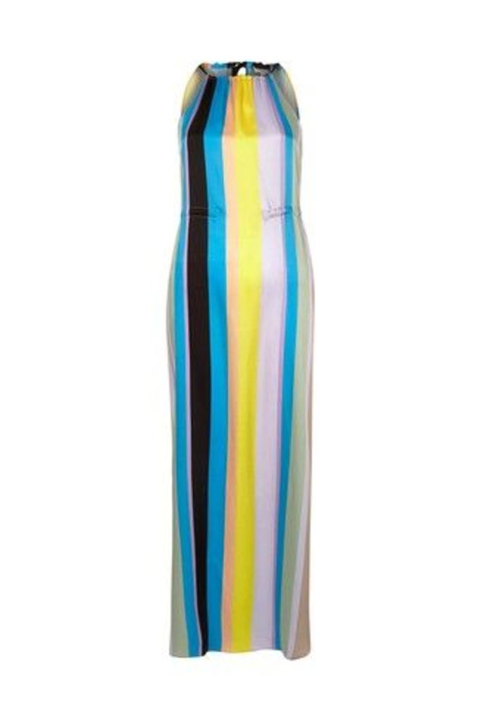 Womens River Island Rainbow Stripe Halter Trapeze Maxi Dress -  Natural