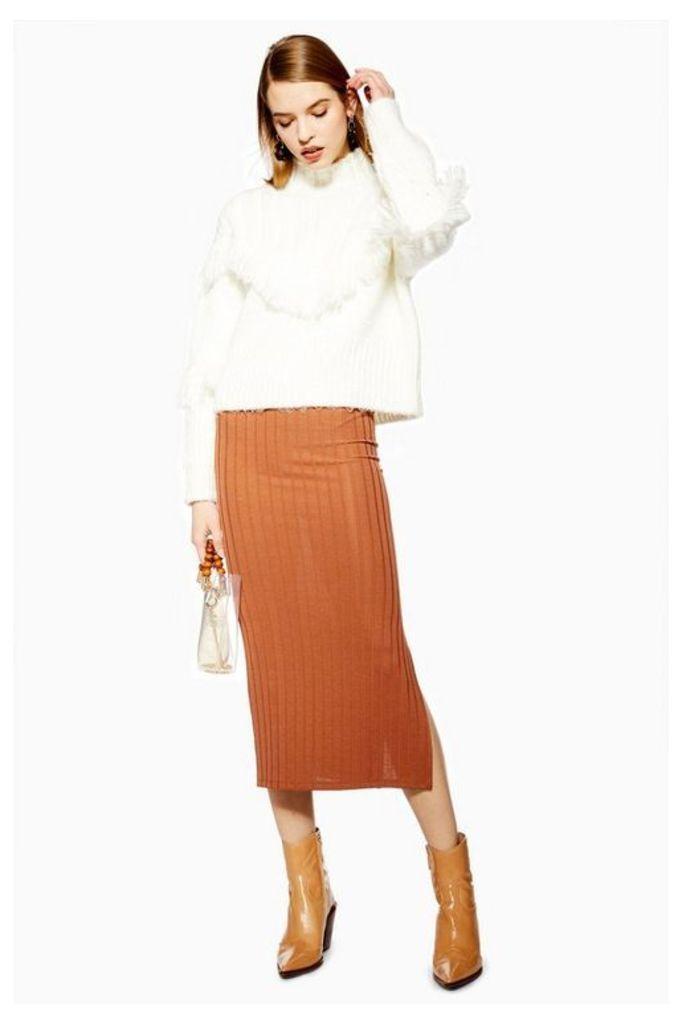 Womens Ribbed Midi Skirt - Rust, Rust