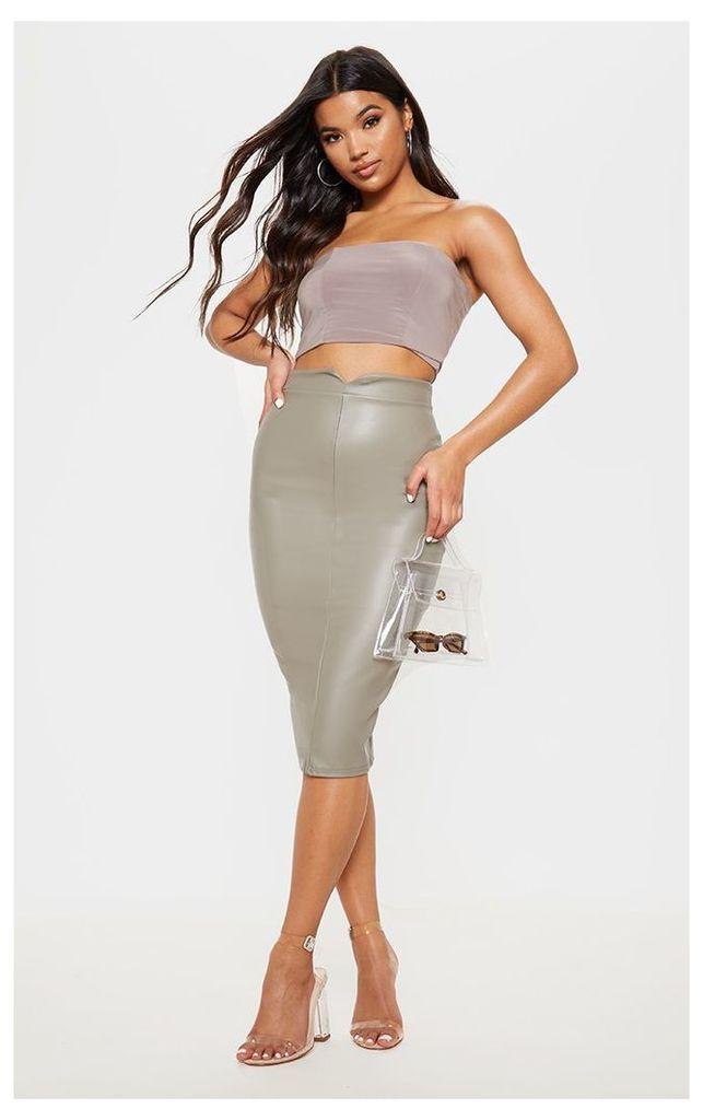 Eva Taupe Faux Leather Panel Midi Skirt, Brown