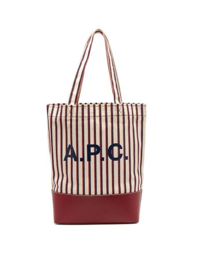 A.p.c. - Axelle Striped Canvas And Leather Tote Bag - Womens - Burgundy Multi