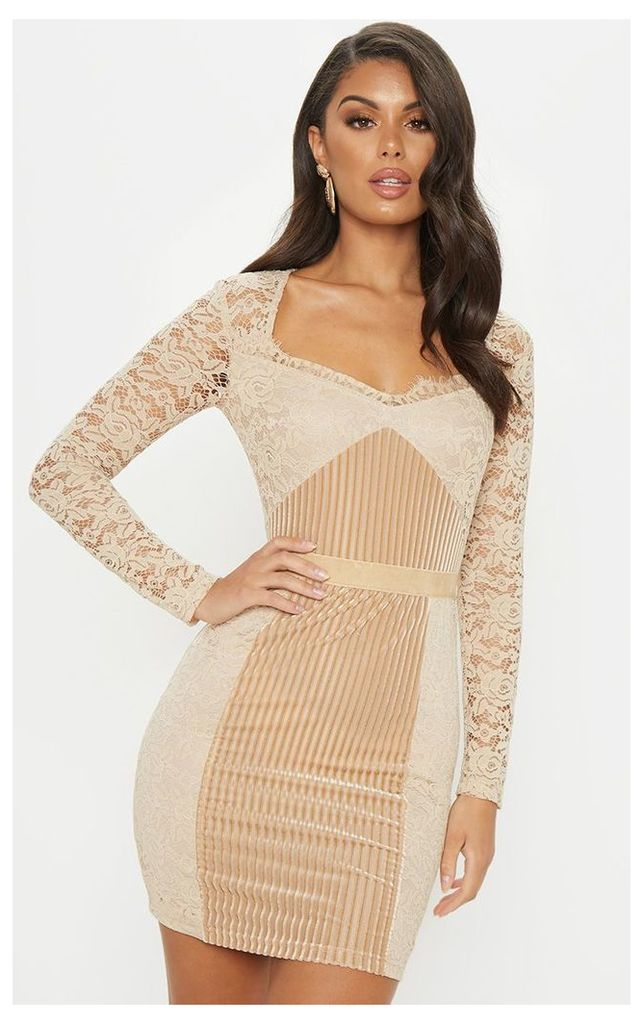 Nude Lace Velvet Insert Bodycon Dress, Pink
