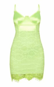 Lime Satin Top Bustier Lace Bodycon Dress, Green