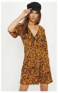Mustard Snake Print V Neck Tea Dress, Mustard