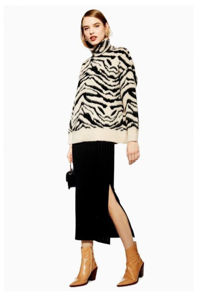 Womens Black Ribbed Midi Skirt - Black, Black