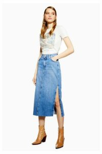 Womens Side Split Denim Midi Skirt - Mid Stone, Mid Stone