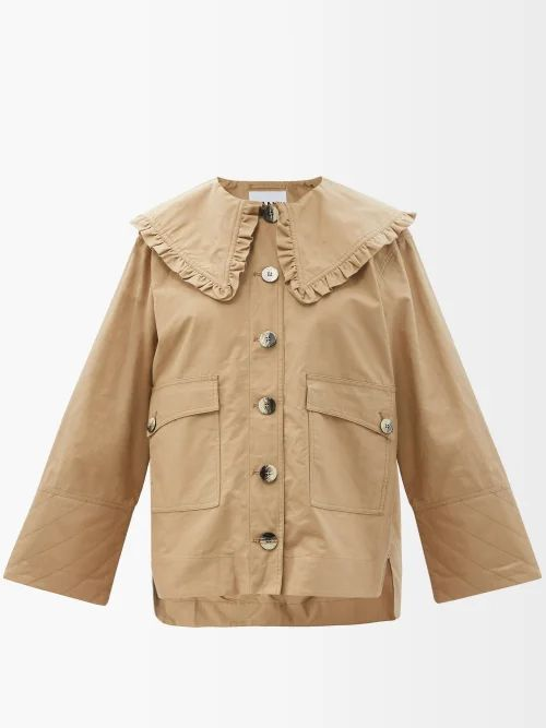 Giambattista Valli - Floral Print Lace Trimmed Silk Crepe De Chine Gown - Womens - Ivory Multi