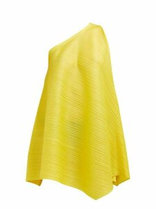 Pleats Please Issey Miyake - One Shoulder Sleeveless Tech Pleated Dress - Womens - Yellow