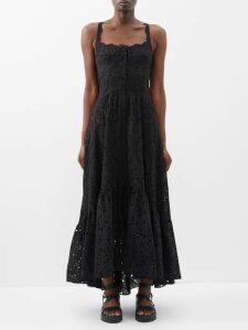 Goat - Flavia Wool And Silk Organza Midi Dress - Womens - Navy