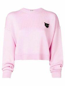 Miu Miu cropped cat sweater - Pink