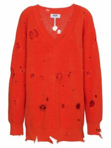 MSGM Oversized Distressed Pullover - Red