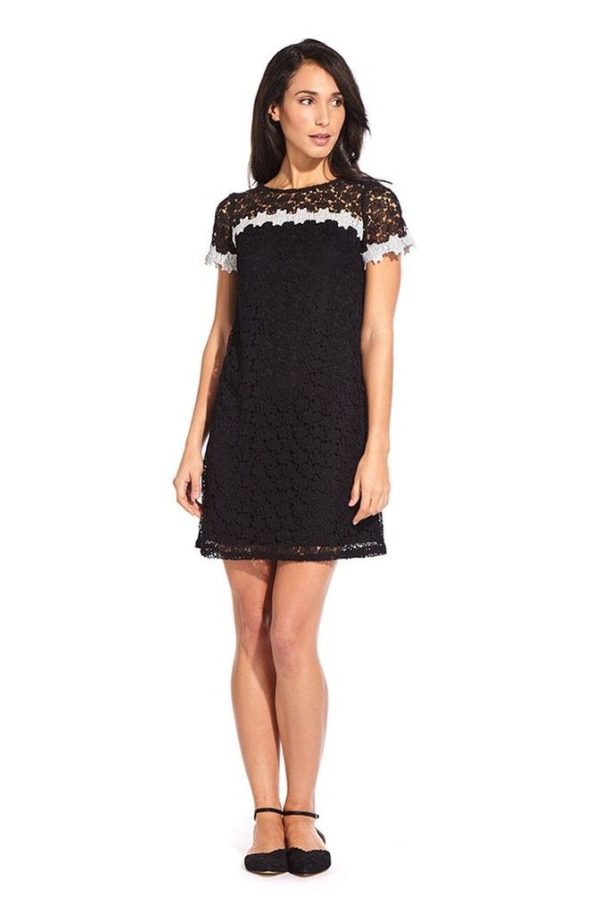 Womens Adrianna Papell Black Ditsy Lace Shift Dress -  Black
