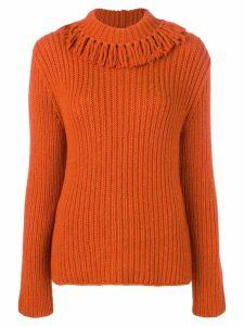 Bottega Veneta fringed neck sweater - Orange