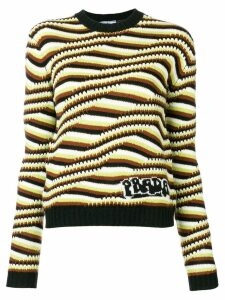 Prada optical stripe sweater - Brown