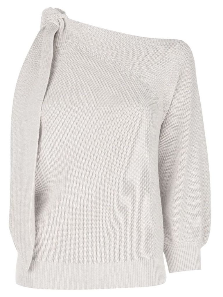Brunello Cucinelli knit one sleeve sweater - Neutrals