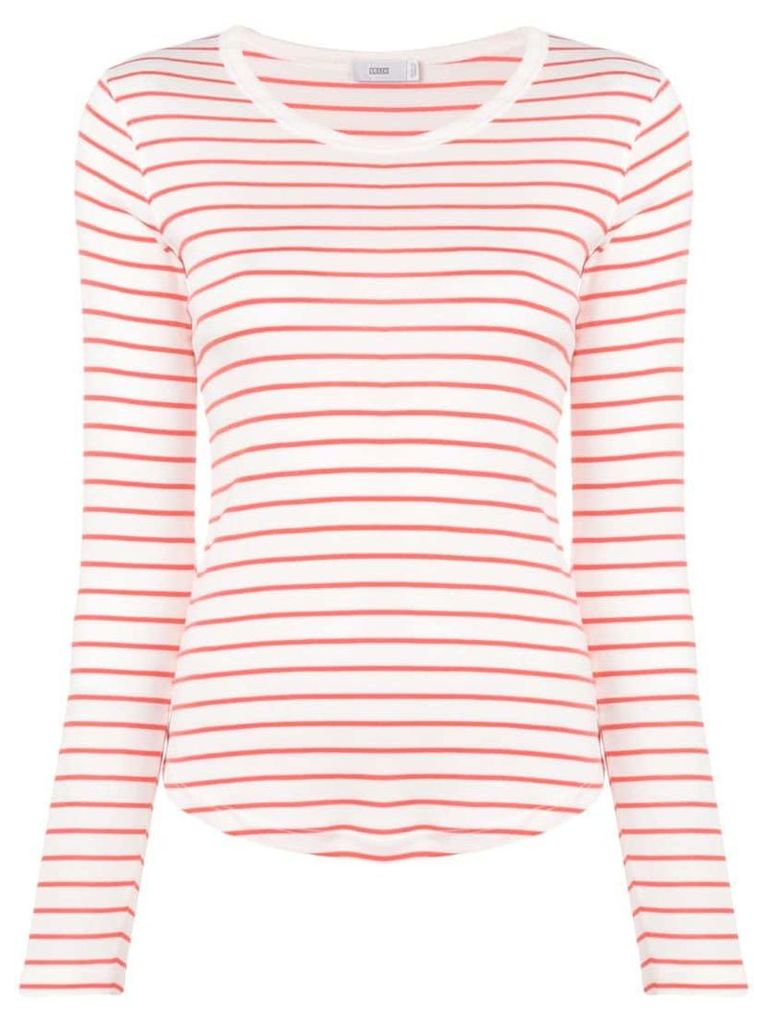 Closed striped lightweight jumper - White