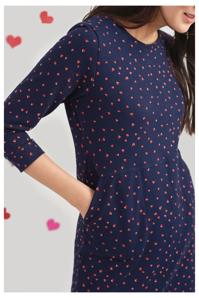 Womens Joules Valo 3/4 Sleeve Jersey Dress -  Blue